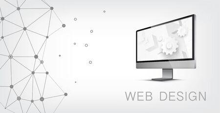 Internet web design technology. Graphic concept for your design Vector Illustration