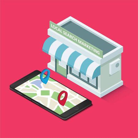 E-Commerce für lokales Suchmaschinenmarketing. Grafisches Konzept für Ihr Design