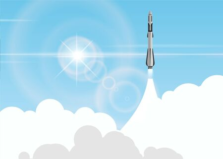 Rocket launch to space background. Graphic concept for your design