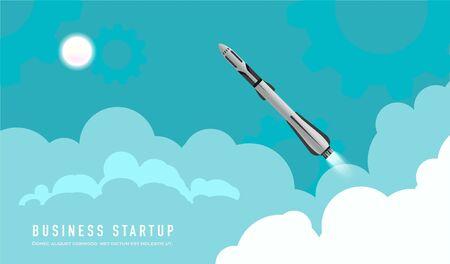 Rocket launch illustration. Start up business concept for your design