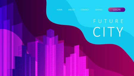 Landing page for a website on the Internet. Abstract city concept for your design