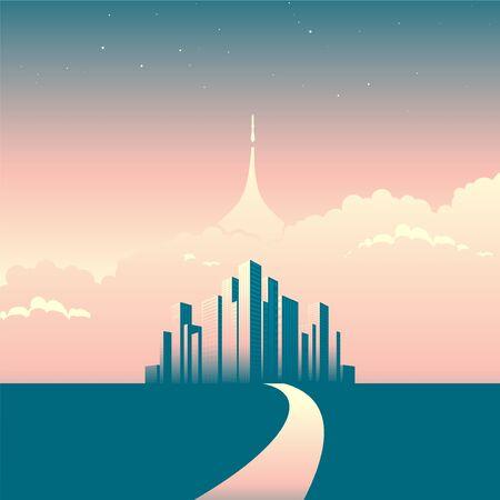 Modern cityscape or skyline background. Spaceship starting to future. Digital innovation concept for your design. Ilustração