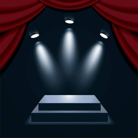 Podium with curtain, illuminated by spotlights. Empty pedestal for award ceremony. Graphic concept for your design Illustration