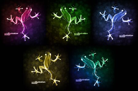 Neon frog, abstract lights vector backgrounds