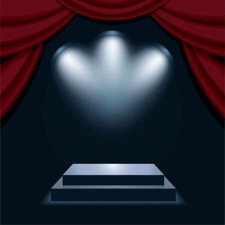 Podium with curtain, illuminated by spotlights. Empty pedestal for award ceremony. Graphic concept for your design Ilustração