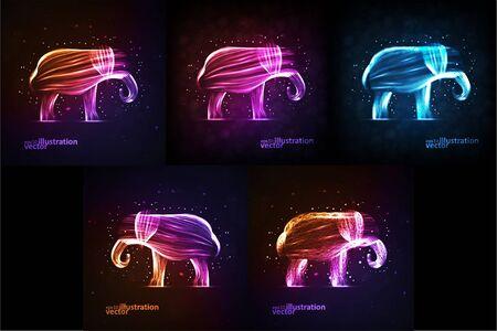 Neon elephant, abstract futuristic strip, stylish illustration eps10