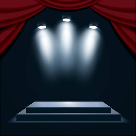 Podium with curtain, illuminated by spotlights. Empty pedestal for award ceremony. Graphic concept for your design Иллюстрация
