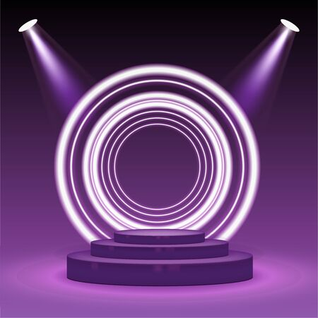 Stage podium with lighting. Empty pedestal for award ceremony on purple background. Graphic concept for your design