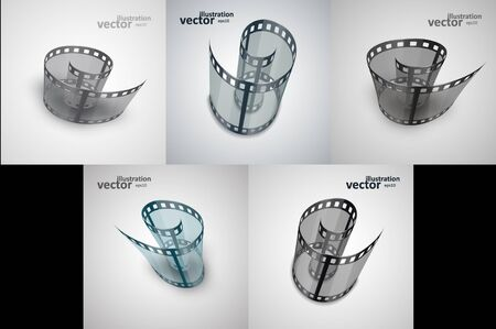Spiral of film strip. Graphic concept for your design Çizim
