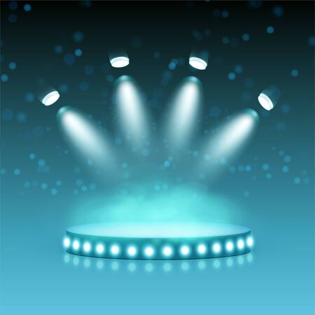 Modern stage illuminated by spotlights. Graphic concept for your design Illustration