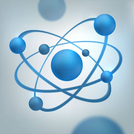 Futuristic blue molecule, abstract cell illustration. Graphic concept for your design