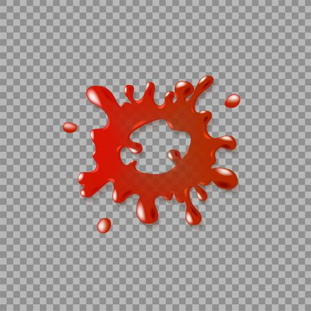 Realistic blood spatter. Illustration isolated on transparent background. Graphic concept for your design