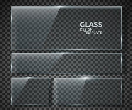 Glass plates set. Glass banners isolated on transparent background. Graphic concept for your design. Stok Fotoğraf - 137845235