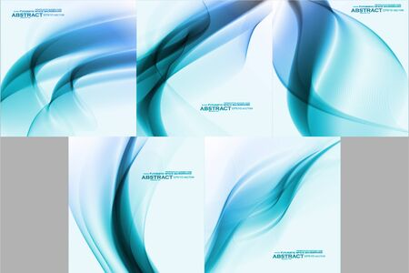 Set of Abstract blue backgrounds, futuristic wavy Archivio Fotografico - 137845250