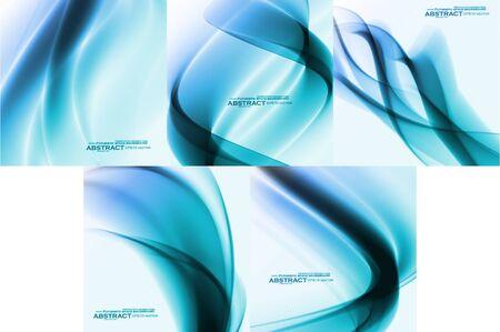 Set of Abstract blue backgrounds, futuristic wavy Archivio Fotografico - 137845209