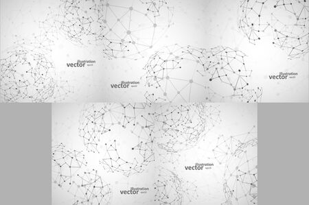 Set of Molecular structure, network connection, abstract Archivio Fotografico - 137845210