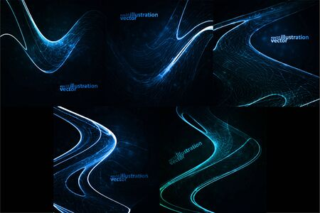 Set of Abstract vector backgrounds. Creative element, shiny space illustration Ilustração