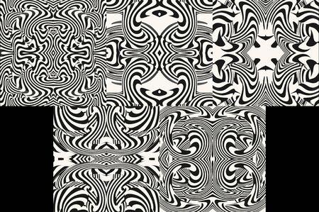 Set of Optical illusion illustrations, abstract futuristic background