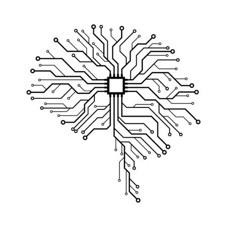 Circuit board in the shape of human brain. Abstract illustration of a scientific technology. Graphic concept for your design