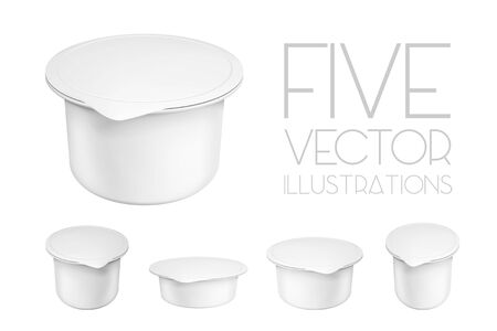 Realistic white mock up blank plastic containers for yogurt. Illustrations isolated on white background. Graphic concept for your design Illustration