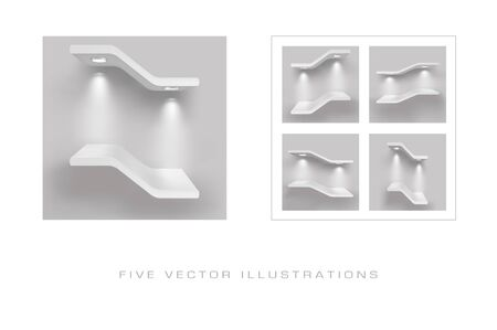 Exhibition shelves with light sources. Illustrations isolated on gray background. Graphic concept for your design