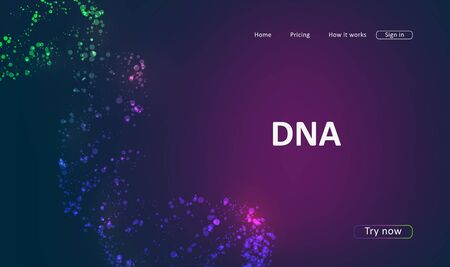 Landing page for a website about DNA structure. Science template for your design Archivio Fotografico - 137420507