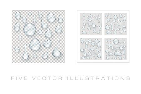 Water drops realistic set isolated illustration. Graphic concept for your design Archivio Fotografico - 137420590