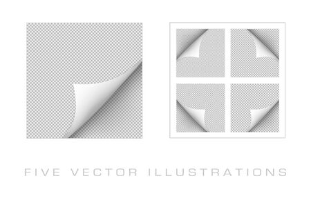 Curled corner of paper with shadow on transparent background. Graphic concept for your design Ilustrace