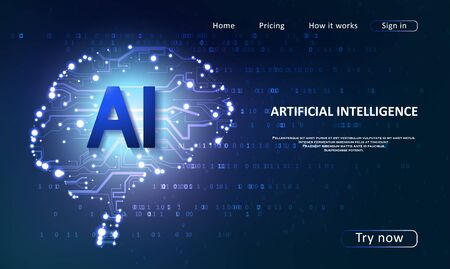 Artificial Intelligence landing page for a website. Artificial intelligence and machine learning concept. Digital computer code. Data transfer concepts in internet. Archivio Fotografico - 136999867