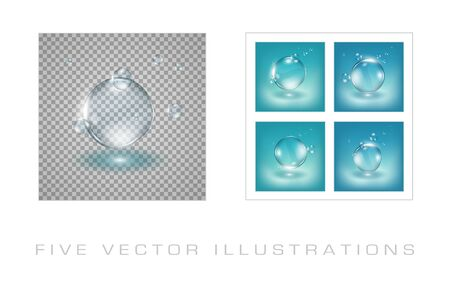 Water drops realistic illustrations. Graphic concept for your design
