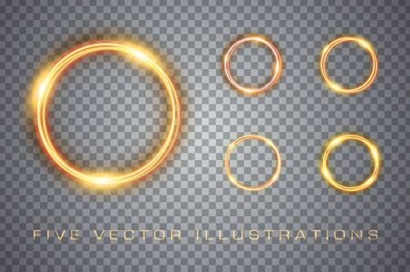 Magic gold circles light effect. Illustrations isolated on background. Graphic concept for your design Archivio Fotografico - 137161349