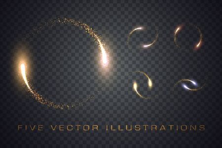 Gold glittering star dust lights circle. Illustration isolated on transparent background. Graphic concept for your design