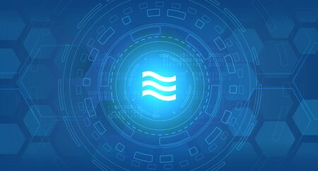 Abstract data transmission visualization. Libra cryptocurrency symbol. Big data code representation. Graphic concept for your design Archivio Fotografico - 137845212