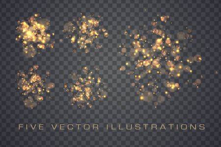 Golden glowing lights effects isolated on transparent background, abstract magic Illustration Stok Fotoğraf - 137845216