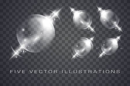 Glass spheres of glowing lights effects isolated on transparent background, abstract magic Illustrations Stok Fotoğraf - 137769469