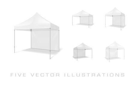 Folding tents. Illustrations isolated on white background. Graphic concept for your design Archivio Fotografico - 137769068