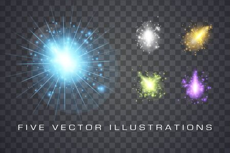 Set of glowing lights effects isolated on background, abstract magic Illustration