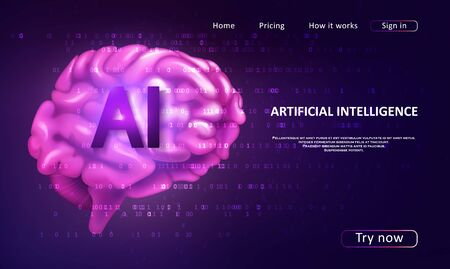 Artificial Intelligence landing page for a website. Artificial intelligence and machine learning concept. Digital computer code. Data transfer concepts in internet. Çizim