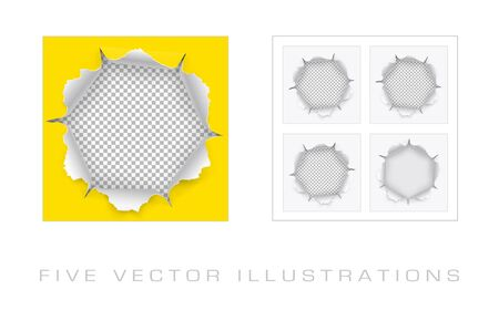 Torn hole in paper with ripped edges with shadow on transparent background. Graphic concept for your design.