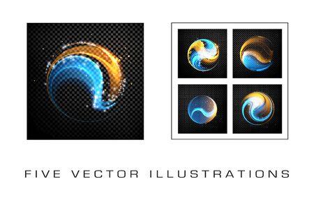 Abstract dynamic illustration, colorful rotating swirl background Çizim