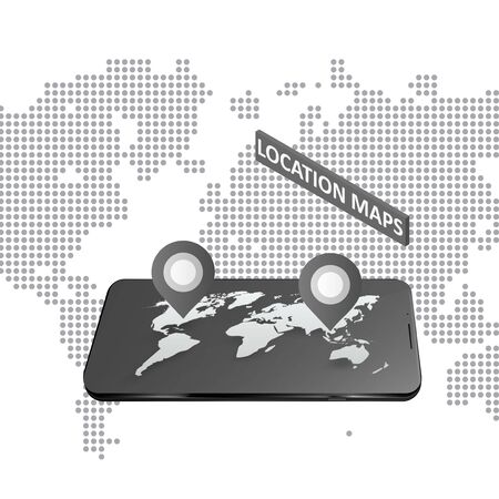 Smartphone with global map. Modern infographic template. Graphic concept for your design Stock fotó - 140370440