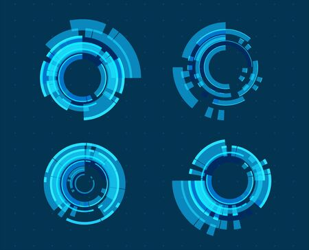 Abstract technology illustration. Icon set circles design. Graphic concept for your design
