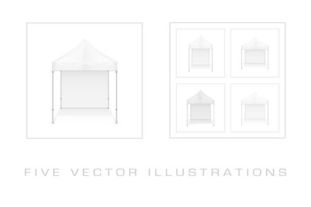 Folding mobile tent. Illustration isolated on white background. Graphic concept for your design