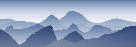 Mountain landscape illustration. Mountains peaks background. Graphic concept for your design.  イラスト・ベクター素材