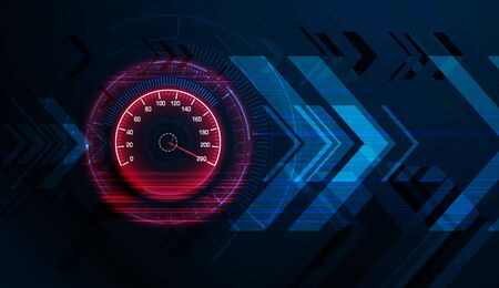 Speed motion background with speedometer car. Abstract racing velocity background. Graphic concept for your design Vetores