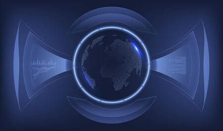Futuristic interface earth globe. Virtual reality technology display. Graphic concept for your design