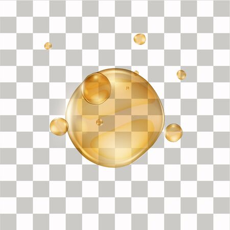 Realistic honey drop. Illustration isolated on transparent background.  Artificial amber like liquid ball. Graphic concept for your design