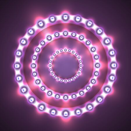Glittering lights circle. Frame with light bulbs on the background. Graphic concept for your design Illustration