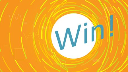 The word Win with lines, rounded corners. Winning card illustration. Graphic concept for your design