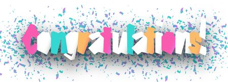 Congratulations Banner with color confetti. Graphic concept for your design
